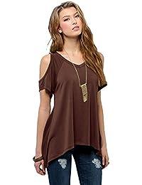 Camiseta Hombros Descubiertos Blusas de Verano V Cuello Irregular Camisas Casual Color Sólido Tops Manga Corta sin Tirantes para Mujer - Landove