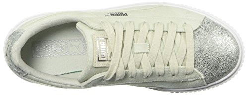 PUMA Women s Basket Platform Canvas Wn Sneaker  Blue Flower Silver  11 M US