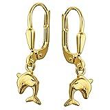 Clever Schmuck Goldene Kinder Ohrhänger 23 mm kleiner Mini Delfin 8 mm beidseitig plastisch, schlicht und glänzend 333 GOLD 8 KARAT