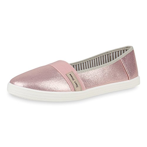 SCARPE VITA Damen Slippers Übergrößen Slip Ons Ballerina Flats Freizeit Schuhe 161451 Rosa Metallic 41 -