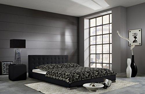 sette notti  Polsterbett Bett 180x200 cm Schwarz, Bett mit gesteppten Kopfteil, Kunstleder Bett, Liegefläche 180 x 200 cm, Sandra Art Nr. 197-10-50000