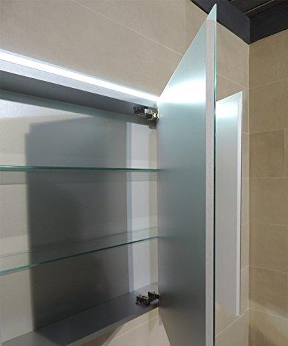 Pensile Specchio Contenitore Per Bagno.Specchiera Specchio Bagno Pensile Contenitore 3 Ante Fascia Led Cm 67x91 7x15