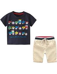 Yilaku Conjunto Niño Verano Camiseta + Pantalones Juego de 2 Piezas con Estampado de Coche