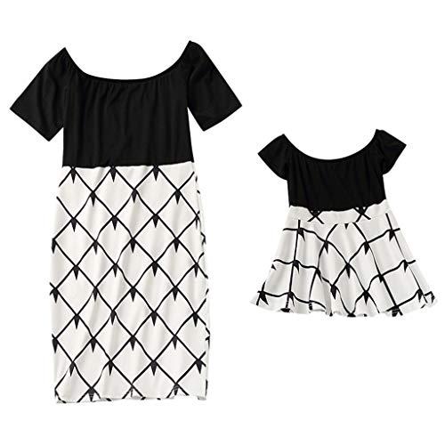Cooljun Summer Cute Dress Mommy & Me Damen Kurzarm O-Ausschnitt Spleißen Rock Familie Kleidung Kleid (Ninja-kleidung Zum Verkauf)