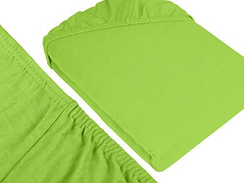 npluseins klassisches Jersey Spannbetttuch - erhältlich in 34 modernen Farben und 6 verschiedenen Größen - 100% Baumwolle, 90-100 x 200 cm, apfelgrün - 3