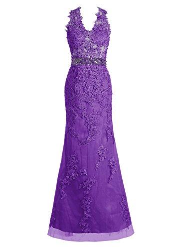 Bbonlinedress Damen Modern Tüll Appliques Promi-Kleider Abendkleider Purpur