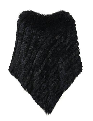 Ferand eleganter Damen Winter Poncho Dicker Cape Warm aus Gestricktem Kaninchenpelz mit Waschbärpelzkragen und Asymmetrischem Saum Schwarz
