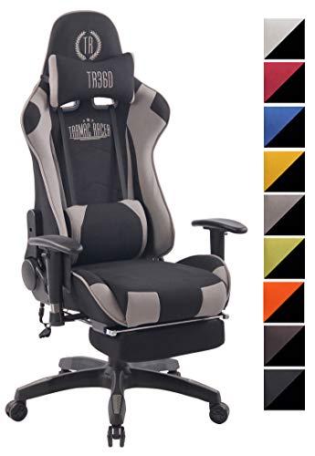 CLP Chefsessel Turbo XFM Stoff mit Massagefunktion l Höhenverstellbarer Bürostuhl mit ausziehbarer Fußablage und beheizbarem Sitzbereich schwarz/grau