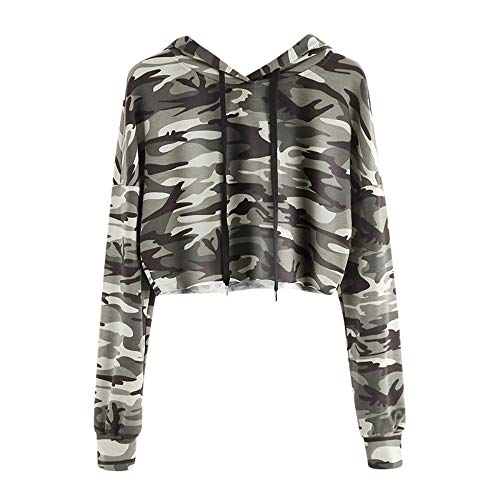 Frauen Camouflage Hoodie, MYMYG Frauen Teenager Mädchen Ärmellos Bauchfrei Hemden Bluse Crop Tops Oberteile T-Shirt mit Kapuze(I1-Tarnung,EU:34/CN-S)