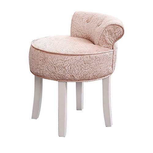 Back-stil Barhocker (Fan Back Dressing Chair, Massivholz Beine Make-up Sitz, bestickte Brokat/Ice Velvet Vanity Chair Lounge gepolsterte Hocker, für Restaurant/Hotel/Cafe/Büro/Schlafzimmer)