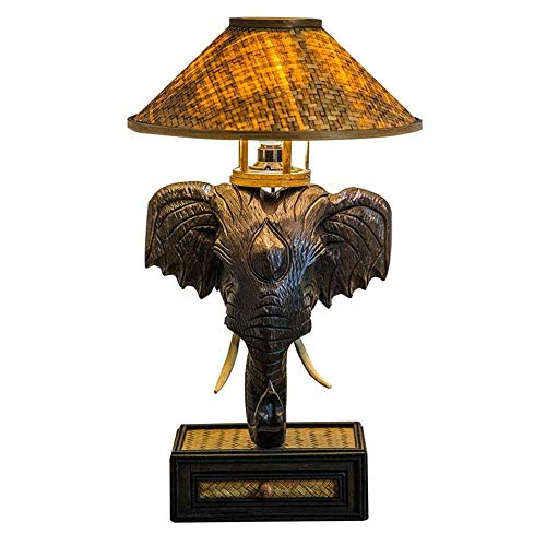 HZC Elefante de Madera Lámpara de Mesa Decorativa Tailandés Retro Tejido a Mano Bambú Sombra Lámpara Rústico Mesita de Noche Lámpara de Escritorio Accesorios para la Sala de Estar Dormitorio Café Bar