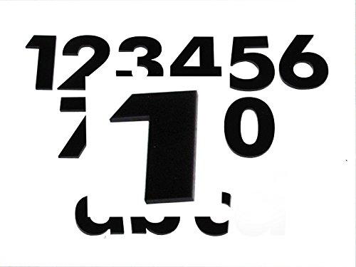 Hausnummer 1 SCHWARZ - HÖHE: 65mm, 3mm dick (KEINE dünne Folie), witterungsbeständig, schönes Design und sehr einfache Montage (kleben statt bohren) HAUSNUMMERN, NUMMER, ZAHL für Haustür, Tür, Briefkasten u. Sprechanlage aus PLEXIGLAS -