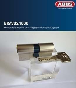 ABUS Bravus.1000 Sicherheits - Doppelzylinder mit 4 Schlüssel, Länge 45/45mm mit Sicherungskarte und höchstem Kopierschutz, Zusatzausstattung: Not- u. Gefahrenfunktion
