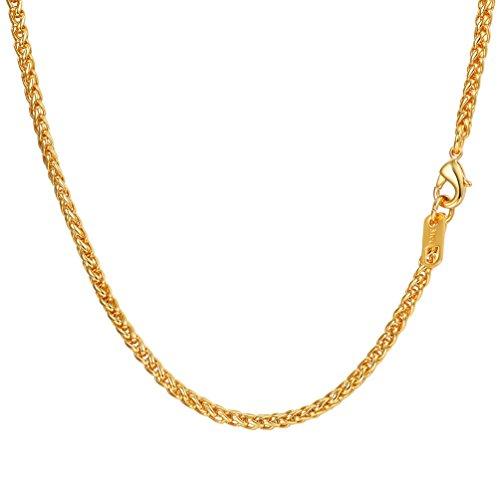 PROSTEEL Herren 3mm Weizenkette Halskette 18k vergoldet Edelstahl Simpel Gliederkette 46cm Kettelänge, Gold