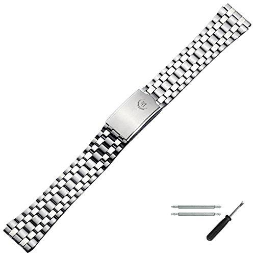 MARBURGER Uhrenarmband 18mm Edelstahl Silber - Uhrband Set 88001180020
