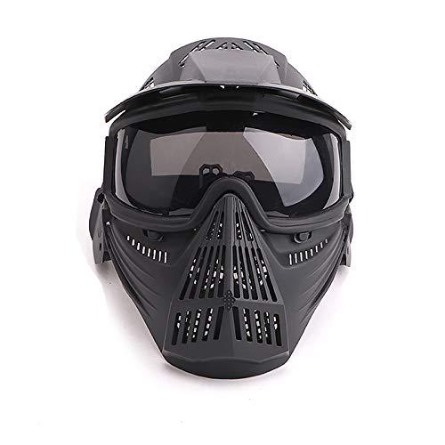 Paintball Maske mit Schutzbrille Schutzmaske Taktische Full Face fur Airsoft Softair Halloween CS Partyspiel Schwarz & Grau Linsen