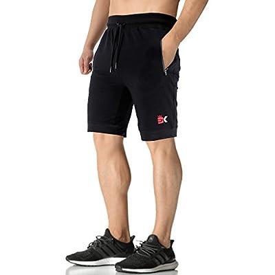BROKIG Men's Running shorts,Gym Training Sport Shorts with Sidelock Zip pockets