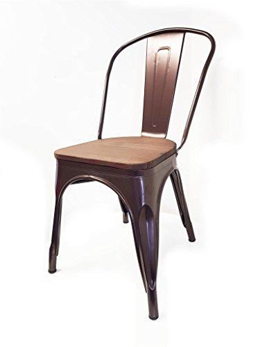 Snug Furniture - Industrial Galvanised Metal & Wood Dining Bar Stool - Single chair (1)