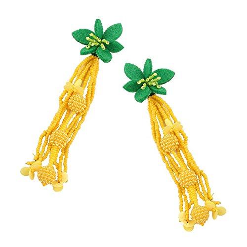 Kunststoff-Ohrringe 2018 Europa und die USA Sommer Burst Perlen Quasten Kunststoff Ohrringe Fashion Offizielle Website die gleiche modische neue Produkte Gelb