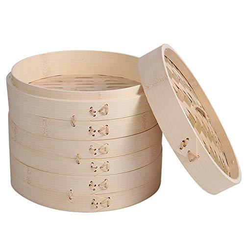Bambusdämpfer, Bambus-Dampfkorb,mit 1/2/3 Ebenen, inkl Deckel, Handgefertigt Bamboo Steamer Set,hochwertig und langlebig,Ideal zum Kochen von Dim Sum und Gemüse Reis Fisch und Fleisch,twofloors,15cm
