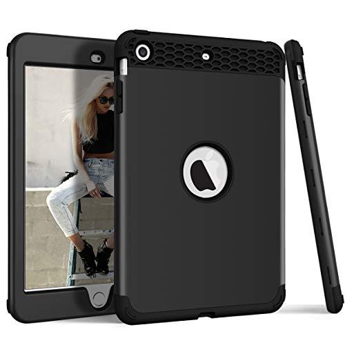 DECVO Schutzhülle für iPad Mini, iPad Mini 2, iPad Mini 3, Rutschfest, stoßdämpfend, stoßfest, aus Silikon, 3-lagig, schwarz