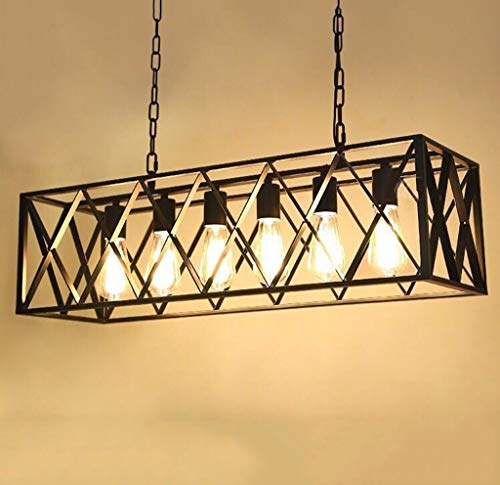 JJL Vier/Sechs-Licht Kronleuchter Retro Schmiedeeisen Beleuchtung Holz Kronleuchter für Esszimmer (größe : 6 Heads) -