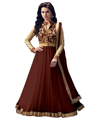 Buy Online Bollywood Ethnic Wear Exclusive Collection Net Brown Colored Anarkali Dress Material Salwar Suit  available at amazon for Rs.549