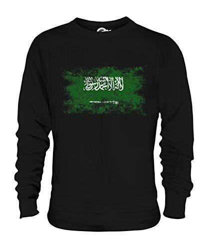 Candymix Saudi-Arabien Weinlese Flagge Unisex Herren Damen Sweatshirt, Größe Small, Farbe Schwarz
