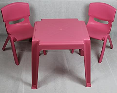 Plastic Strong chairs and Table set for Kids Childrens Boys and Girls suitable for Garden or Inside Red Blue Green Pink Yellow