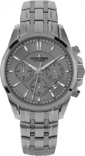 Jacques Lemans 1-1703F - Reloj de pulsera para hombre, diseño deportivo, mecanismo de cuarzo, fabricado en titanio (tamaño XL), color plateado