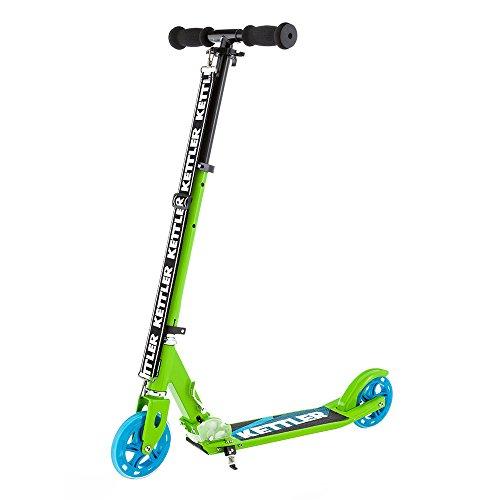 Kettler Scooter Zero 6 Greenatic - klappbarer Cityroller mit Kick-Fußbremse und sportlichem Design - höhenverstellbarer Kinderroller aus Aluminium - auch für Erwachsene - grün, schwarz & blau