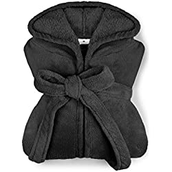 extra weicher Kapuzen-Bademantel aus Kuschelfleece - erhältlich in 10 modernen Farben und 5 Größen - unisex & wadenlang, XXL, schwarz