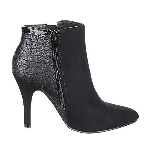 JA3082 chaussures hIGH hEELS femme aNKLE bOOTS femme Noir - Noir