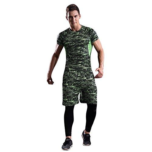 OSYARD Männer Training Leggings Fitness Sport Fitnessstudio Laufende Yoga Athletische Hosen und Hemd Anzug