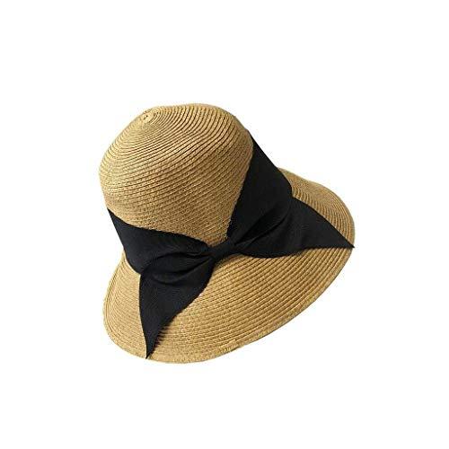 YDS SHOP Hut Grundfarbe Schwarz Schmetterling Einfach Weiblich Falten Japanisch Gesicht Sonne Sommer Strandurlaub Stroh Bogen Visier