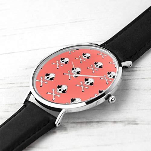 Unisex Ultra Thin Fashion Minimalist Relojes de Pulsera Cat Skulls on Living Coral Reloj de Cuarzo a Prueba de Agua para Hombre para Mujer