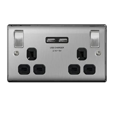 Invero® Double Wall Faceplate 2 Gang Plug Socket 13A with 2x USB Outlet Ports 2.1A with Black Inserts - Stainless Steel