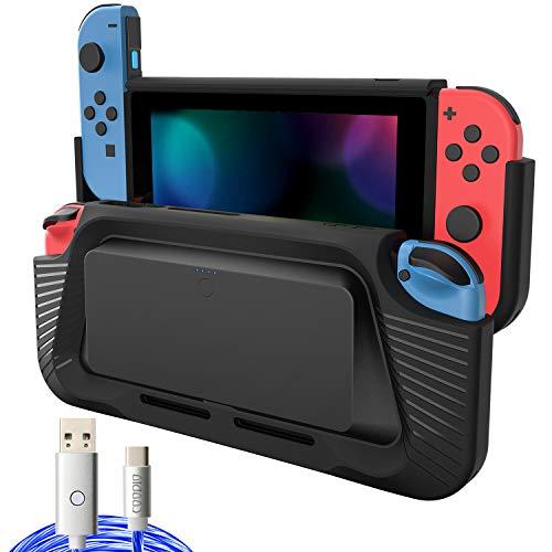 COODIO 2in1 Akku und Griff für Nintendo Switch, Switch 10000mAh Akku Powerbank, Switch Handgriff Hülle mit Type-C Kabel Beleuchtung / Ständer für Nintendo Switch Joy-Con, Schwarz