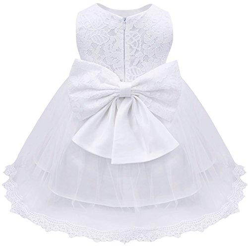 Freebily Vestido de Princesa Elegante para Niñas Bebés Vestido Infantil de Bautizo Fiesta Boda Blanco 6-9 Meses