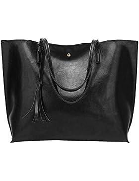 PB-SOAR Damen Mädchen Elegant Shopper Schultertasche Ledertasche Schulterbeutel Henkeltasche Handtasche Einkaufstasche...