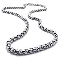 "Sandra Mens Jewelry 2mm-5mm 16""-40"" Silver Stainless Steel Square Rolo Necklace Chain"