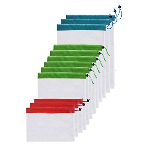 OUNONA Bolsas Compra Reutilizables Ecológicas Bolsa de Malla para Almacenamiento Fruta Verduras Juguetes Lavable y Transpirable 3 Diversos Tamaños 12 Unidades