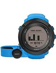 Suunto, AMBIT3 VERTICAL HR, Montre GPS Multisport unisexe, 15h d'autonomie, Cardiofréquencemètre + Ceinture de poitrine (Taille : M), Étanchéité jusqu'à 100 m, Bleu, SS021968000