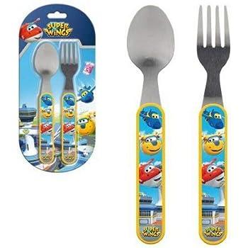 Cucchiaio e forchetta in acciaio INOX per bambini posate Superwings