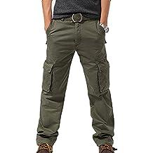 FEOYA - Pantalones de Cargo Militar Pantalones Largos para Hombre Múltibolsillos Pantalones Casual de algodón Ocasiones al aire libre Resistente Gris Negro Verde Talla 40 42 44 46 48 50 52