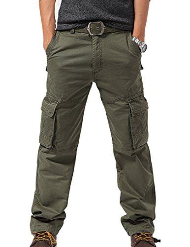 Feoya Herren Arbeitshose Wasserwäsche vintage Cargohose Mehrere Tasche Hosen aus Baumwolle Trekkinghose Loose-Fit Outdoor Freizeithose - Grün