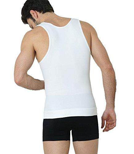 Formeasy Shapewear Figurformendes Herren Unterhemd Bauchweg-Shaper Kompression Weiß