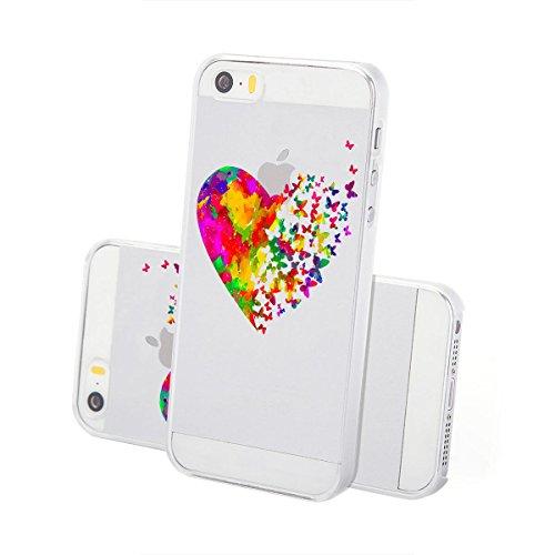 Motivo Serie 2 Custodia Rigida Iphone - Navy Legno, Iphone 7 Watercolor cuore farfalle