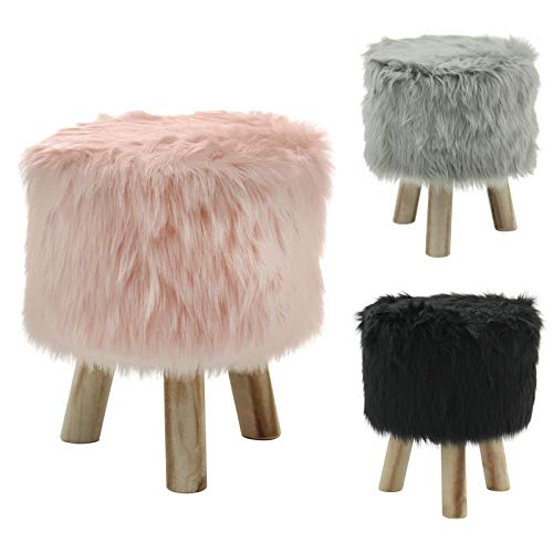 Hodge and Hodge Mini Footstool Footrest Faux Fur Stool Home Accessory – Black