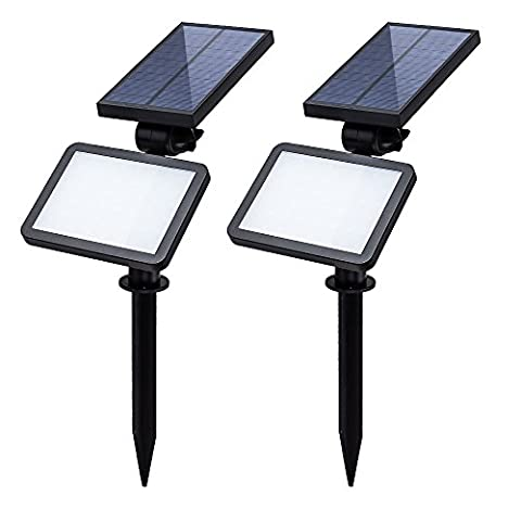 (2 Pack&48 LED) T-SUN LED Solar Spotlights, 2 in 1 Wall In-ground Waterproof Solar Powered Garden Security Lights, 180 Angle Adjustable for Tree, Patio, Yard, Driveway, Stairs, Pool Area, Outdoor Landscape Lighting. (Cool White 6000K)
